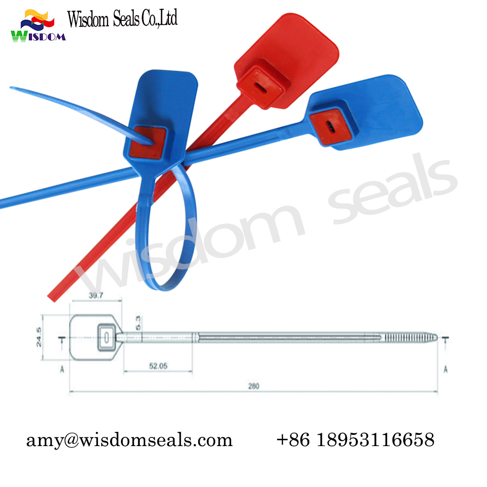 WDM-PS128A  28cm pull tight plastic straps seal metal inserted Indicative plastic security seal adjustable