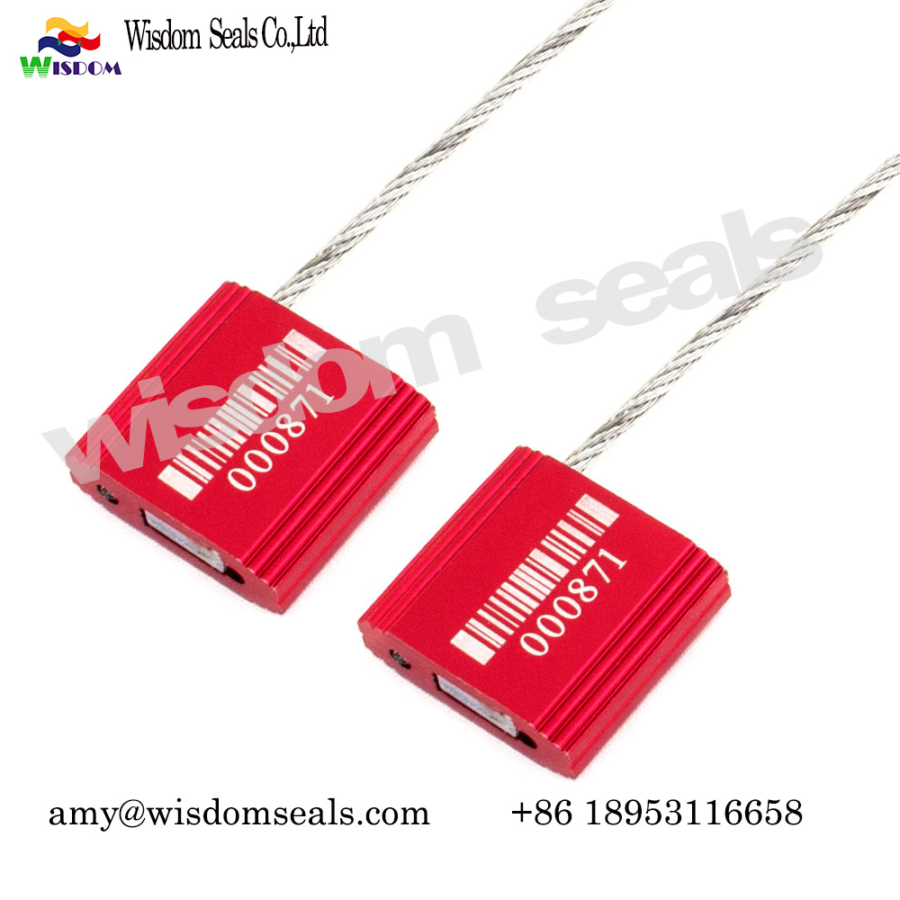 WDM-CS125  High safety tampering obvious pull tight metal cable seal with laser print customer number